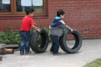 Playing with tyres a rolling race